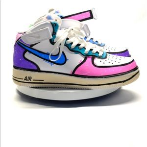 Shoes - Air Force 1 Mids hand painted x b2Ss